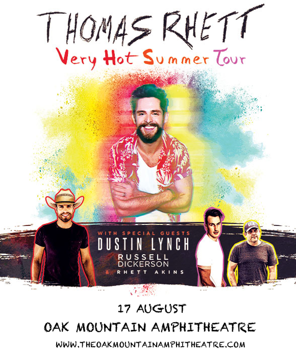 Thomas Rhett, Dustin Lynch & Russell Dickerson at Oak Mountain Amphitheatre