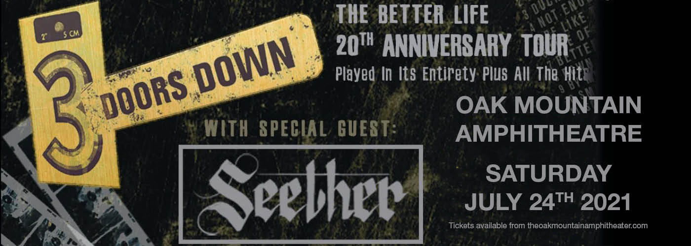 3 Doors Down: The Better Life 20th Anniversary Tour at Oak Mountain Amphitheatre