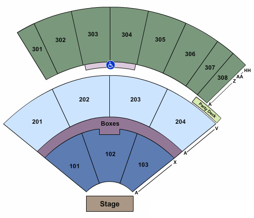 Tuscaloosa Amphitheater Detailed Seating Chart